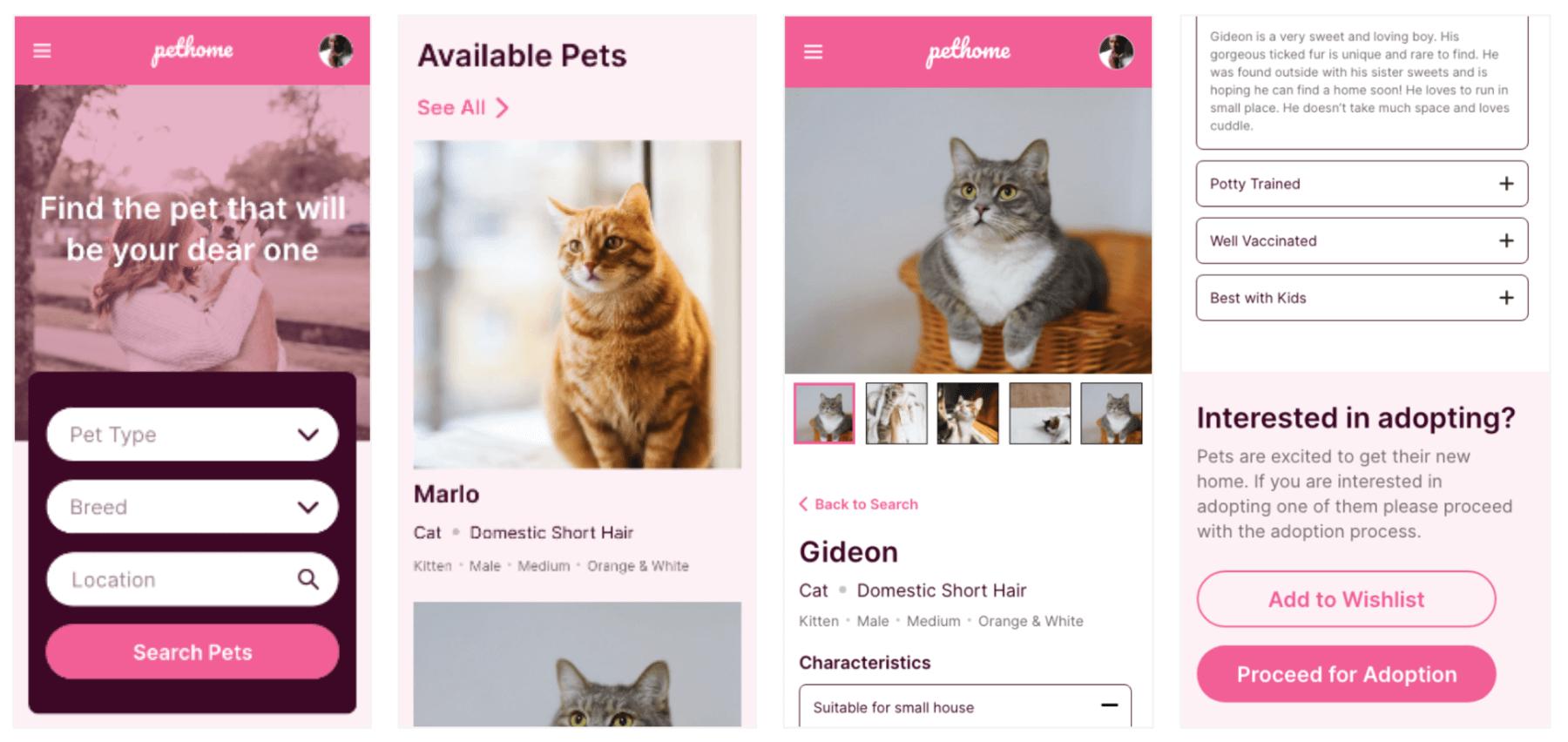 Mobile Mockups for PetHome